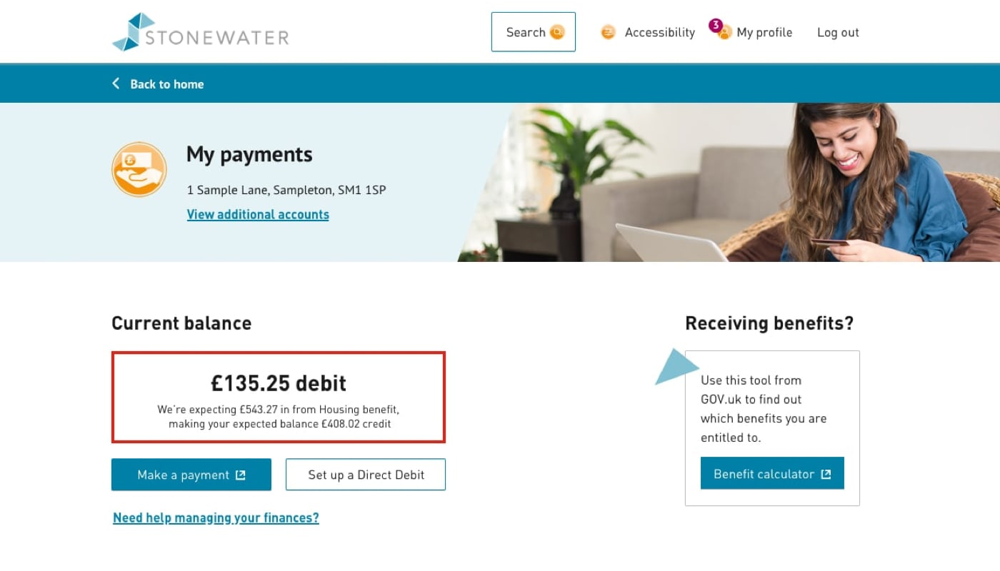 Stonewater portal payments page showing arrears payment